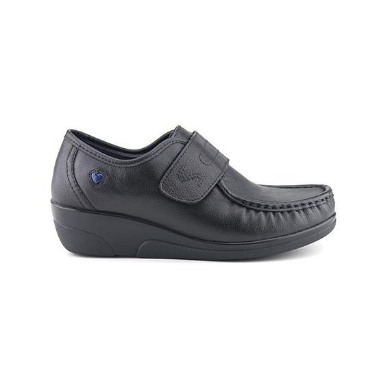 נעלי אחיות ולקרו אמריקאי על סוליה גבוהה בצבע שחור נפה
