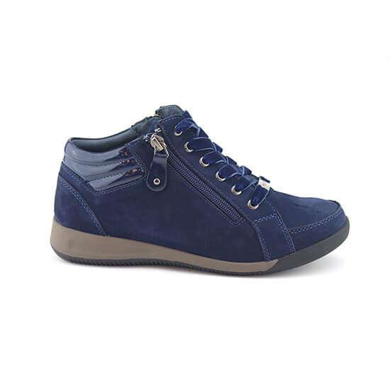 נעל שרוך ריץ-רץ כחול כהה נובוק+לק