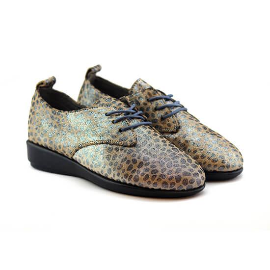 נעל שרוכים עור צבי בצבע נמר כסוף