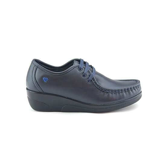 נעלי אחיות שרוכים על סוליה גבוהה בצבע כחול נפה
