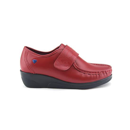 נעלי אחיות ולקרו אמריקאי על סוליה גבוהה בצבע אדום נפה