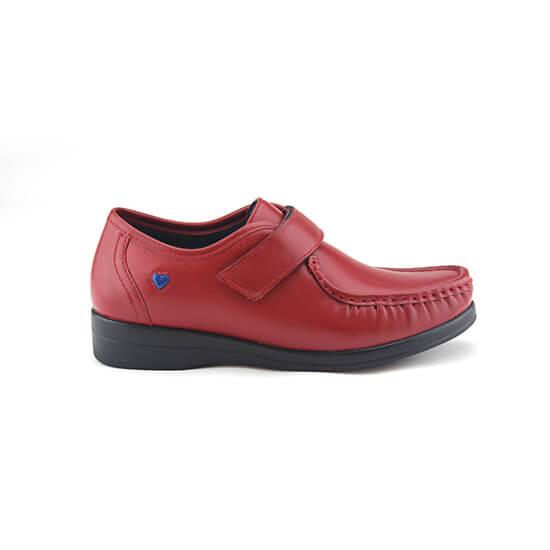 נעלי אחיות ולקרו אמריקאי על סוליה נמוכה בצבע אדום נפה