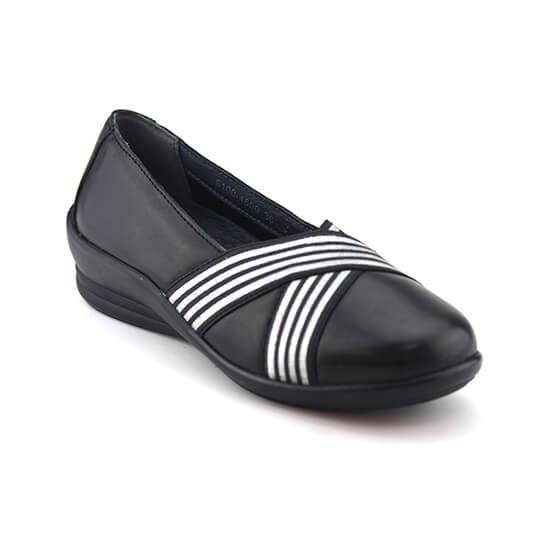 נעל בובה נפה שחור+גומיה פסים