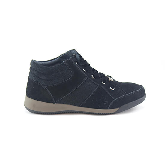 נעל שרוך קומב שחור זמש+עור מנוצנץ