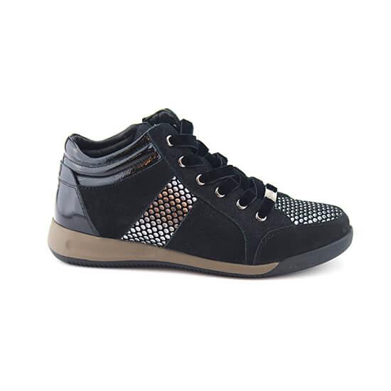 נעל שרוך קומב שחור נובוק+טיפות כסף