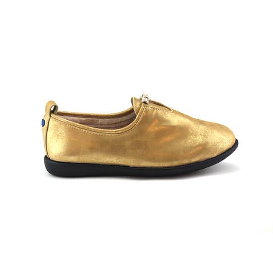 נעל מוקסין יהלום עור צבי בצבע זהב