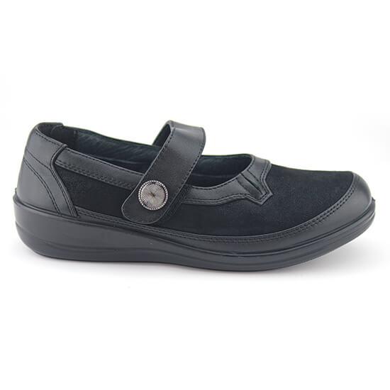 E. נעל בובה סקוץ נפה+זמש שחור