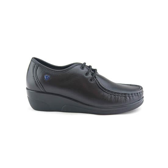 נעלי אחיות שרוכים על סוליה גבוהה בצבע שחור נפה