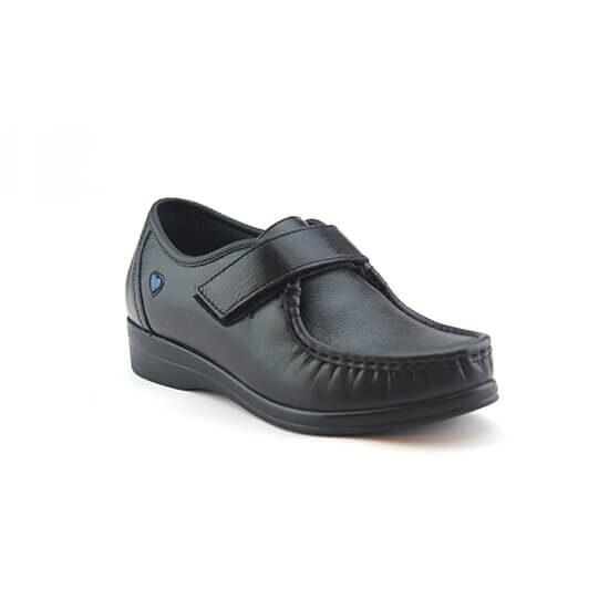 נעלי אחיות ולקרו אמריקאי על סוליה נמוכה בצבע שחור נפה