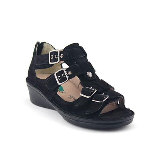 סנדל יוני חגורות נובוק שחור