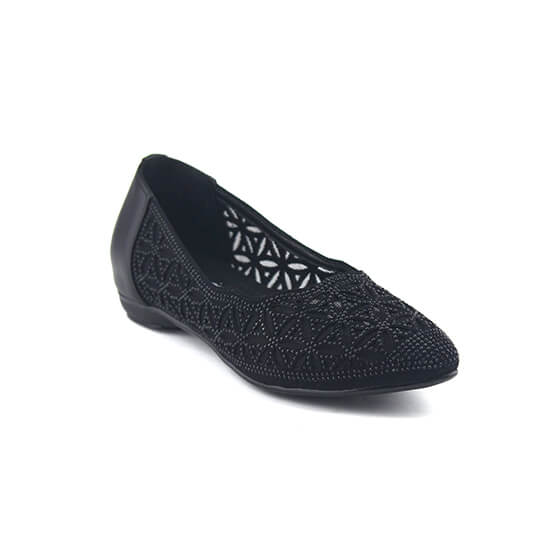 נעלי סירה תחרה שטוחות עם יהלומים שחורים