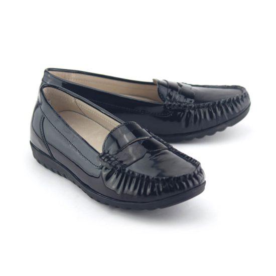 נעלי מוקסין עור לק